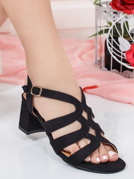 Sandale De Dama Negre Cu Toc Mediu
