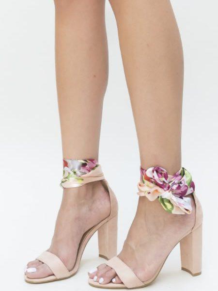 Sandale De Vara Bej Cu Toc Gros