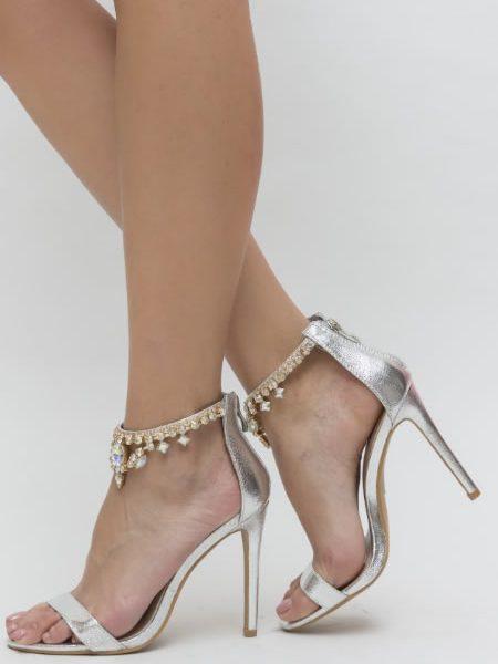 Sandale Elegante Argintii Ocazii Speciale