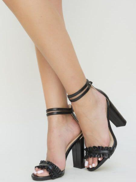 Sandale Elegante Cu Toc Gros Negre
