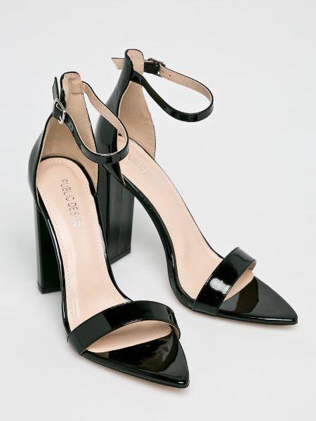 Sandale Elegante Cu Toc Gros Si Varf Ascutit
