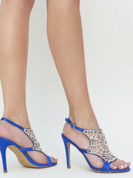 Sandale Elegante Cu Toc Inalt Albastre