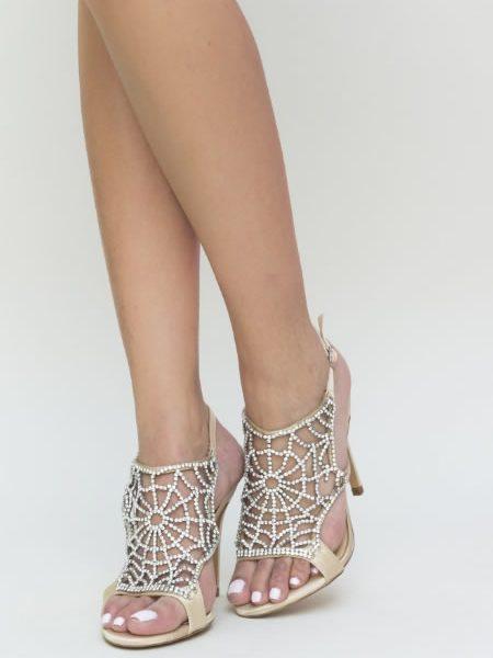 Sandale Elegante De Seara Cu Toc Aurii