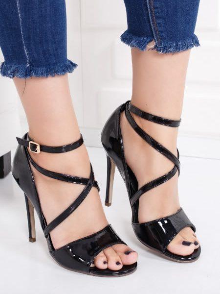 Sandale Elegante Negre Cu Toc Subtire