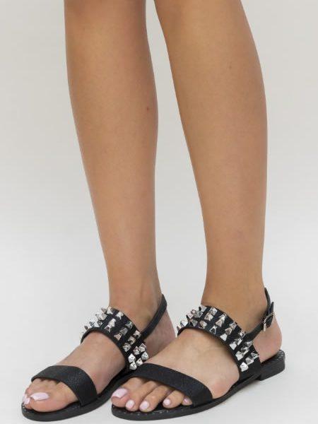 Sandale Fara Toc Cu Tinte Negre