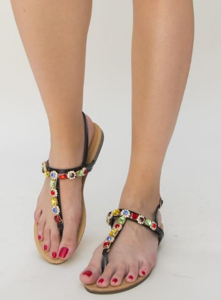 Sandale Ieftine Cu Talpa Joasa Si Pietricele Colorate