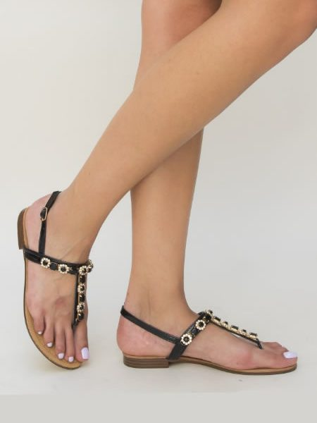 Sandale Ieftine Cu Talpa Joasa Negre