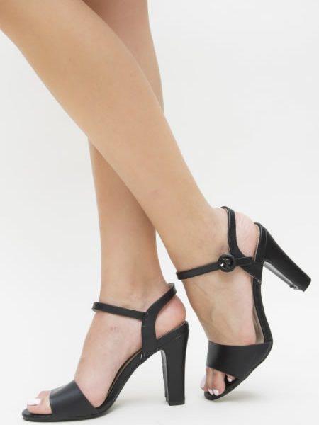 Sandale Ieftine Cu Toc Gros Negre