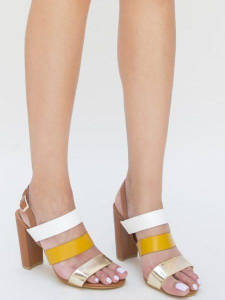 Sandale Multicolore Cu Toc Gros