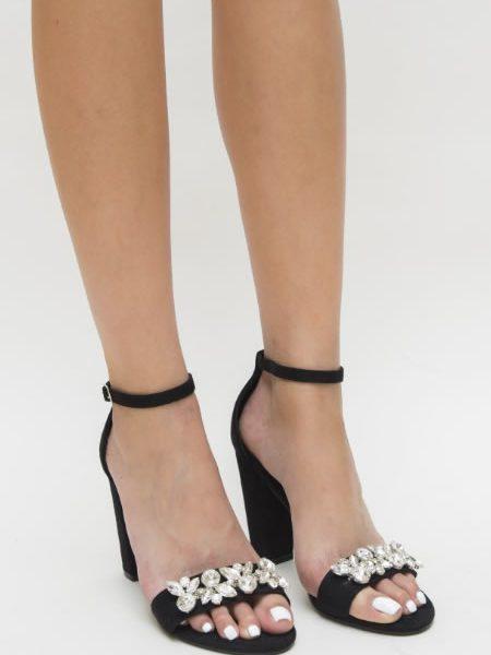 Sandale Negre Cu Imitatie De Pietre Pretioase