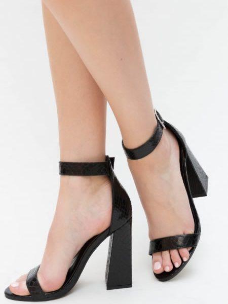 Sandale Negre Cu Toc Gros Evazat