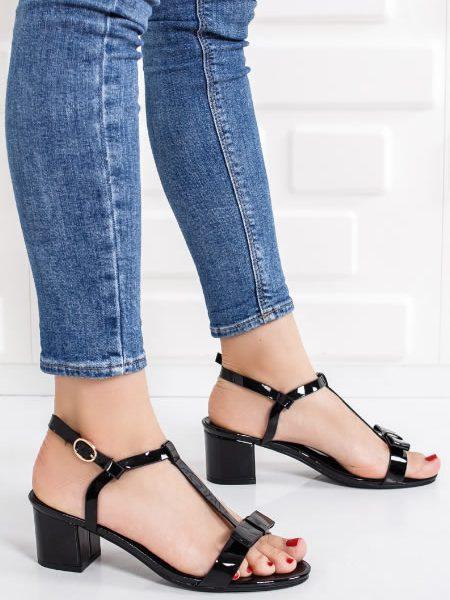 Sandale Negre Cu Toc Gros Mediu