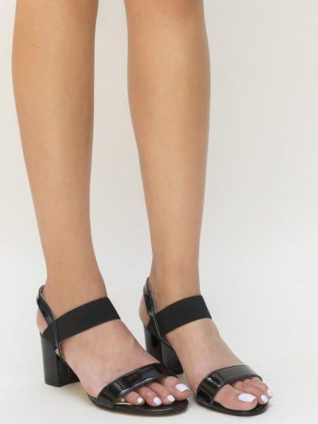 Sandale Negre Cu Toc Mediu