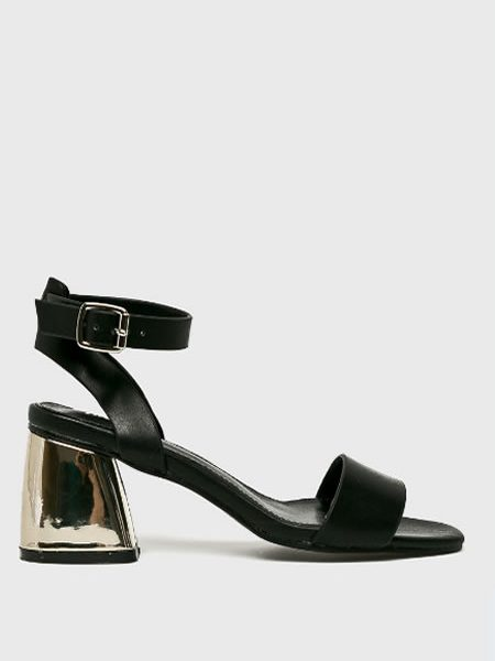 Sandale Negre Cu Toc Mediu Auriu