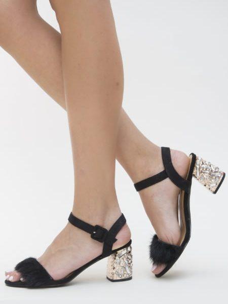 Sandale Negre Cu Toc Mediu De Ocazie