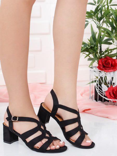 Sandale Negre Cu Toc Mediu Din Piele Intoarsa Sintetica