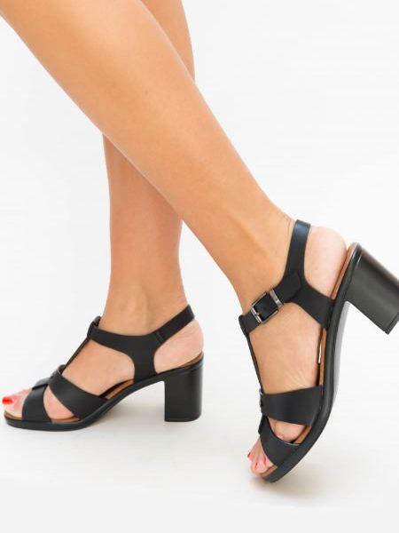 Sandale Negre Cu Toc Mediu Si Bareta T Online