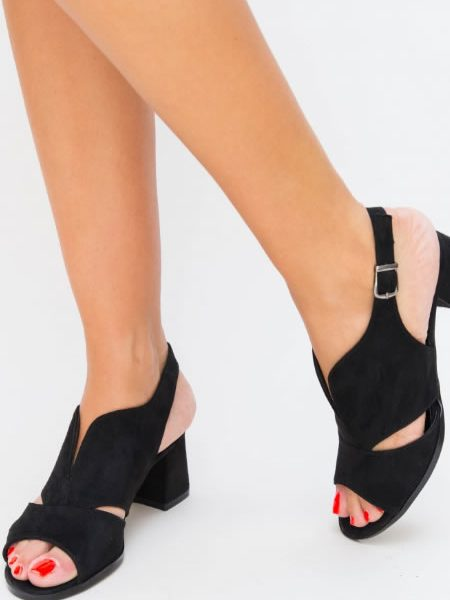 Sandale Negre Cu Toc Mic Comode