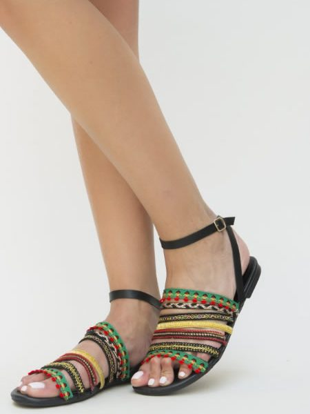 Sandale Negre Fara Toc Cu Bareta