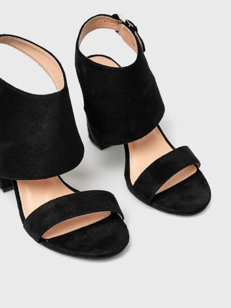 Sandale Negre Ieftine Cu Toc Gros
