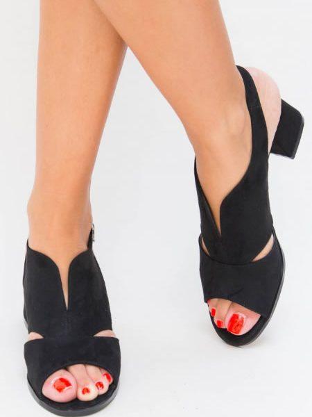 Sandale Negre Toc Mic Piele Intoarsa Ecologica