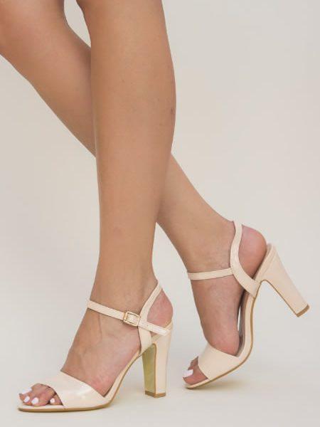 Sandale Nud Cu Toc Gros