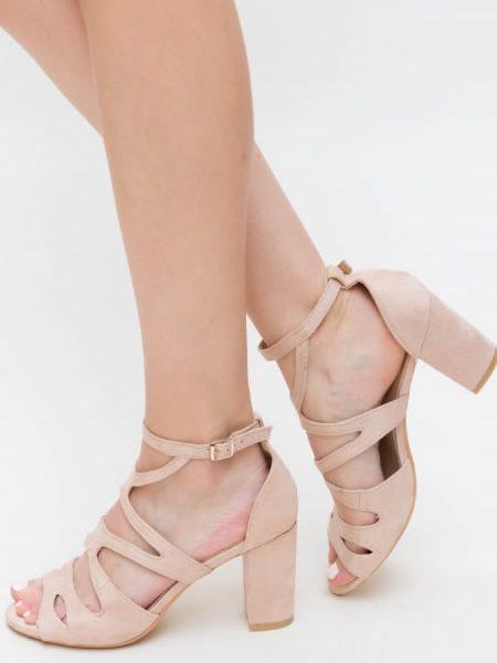 Sandale Online Cu Toc Gros Comode Bej