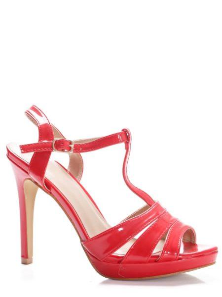 Sandale Rosii Cu Toc Si Platforma Subtire