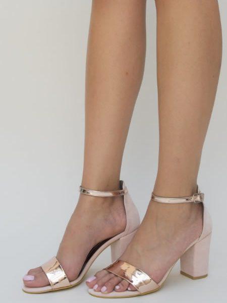 Sandale Roz Cu Toc Mediu