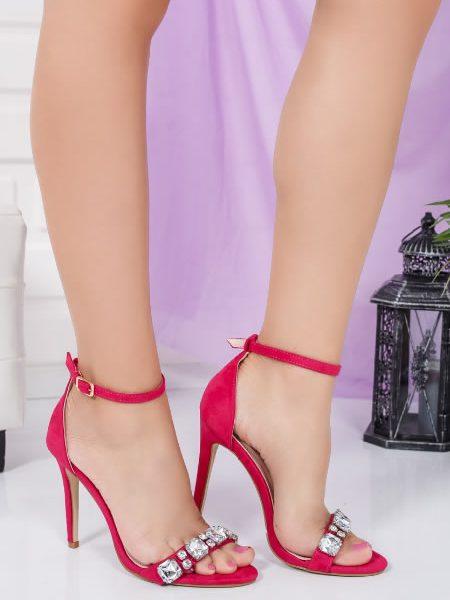 Sandale Roz Elegante Cu Toc