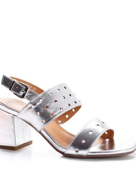 Sandale Toc Mediu Argintii