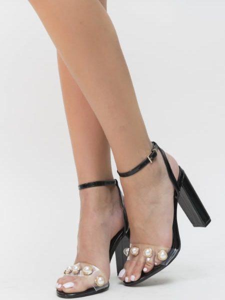 Sandale Transparente Cu Perle