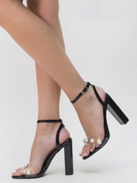 Sandale Transparente Cu Toc Gros