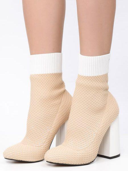 Botine Sock Boots Bej