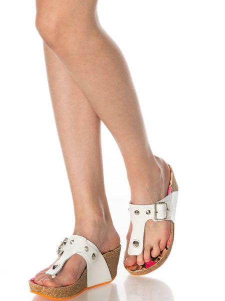 Papuci Cu Platforma Albi