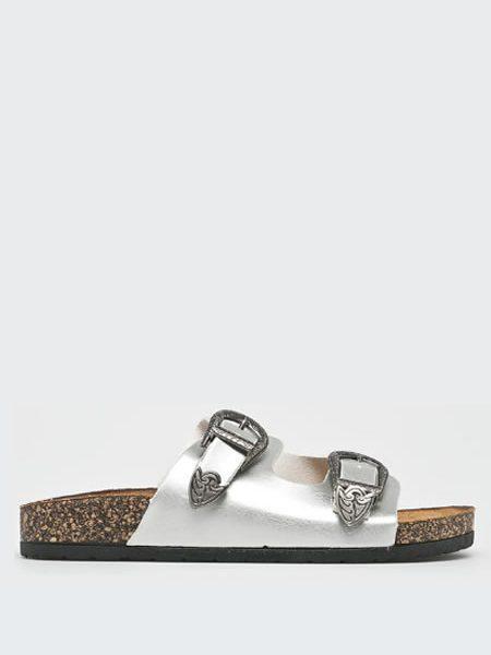 Papuci Dama Argintii Tip Birkenstock Ieftini