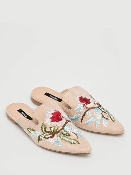 Papuci Dama Bej Brodati