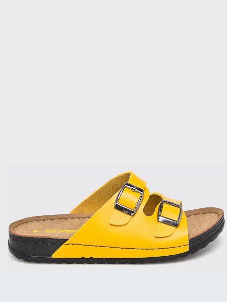 Papuci Dama Galbeni Tip Birkenstock
