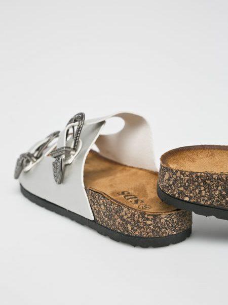 Papuci De Dama Argintii Tip Birkenstock