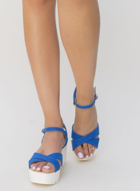 Sandale Albastre Cu Platforma Plata