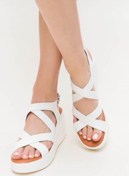 Sandale Albe Cu Platforma De Vara