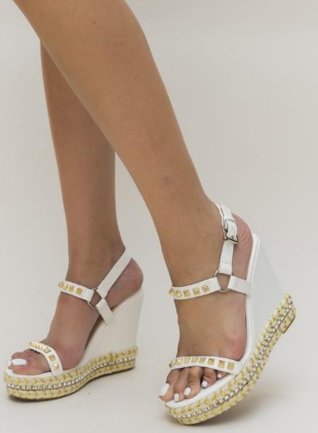 Sandale Albe Ieftine Cu Platforma