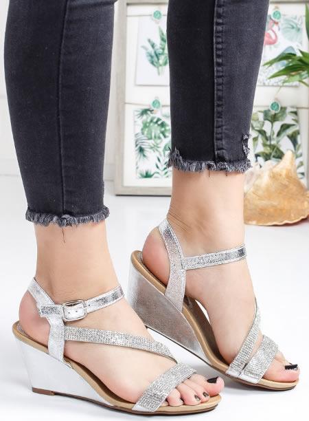 Sandale Argintii Cu Platforma Joasa