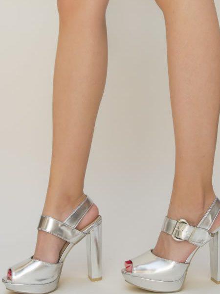 Sandale Argintii Cu Platforma Si Toc Gros
