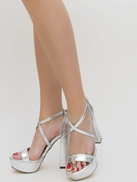 Sandale Argintii Cu Toc Inalt Gros