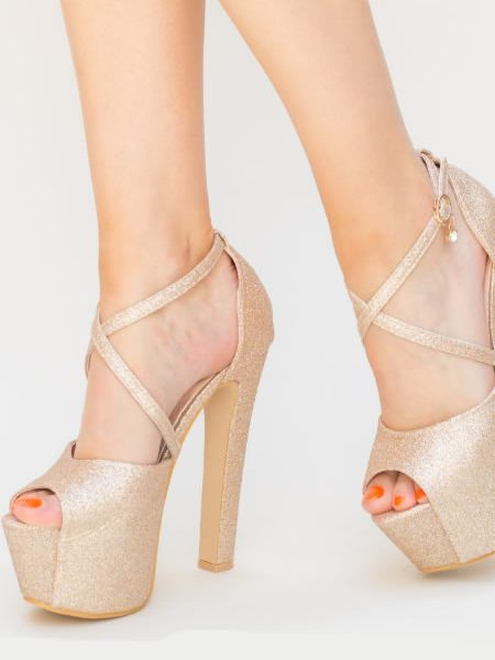 Sandale Aurii Cu Toc Gros Si Platforma