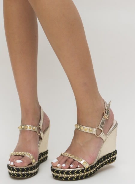 Sandale Aurii La Moda Inalte