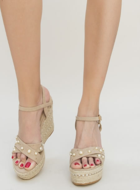 Sandale Bej Cu Platforma Rafie