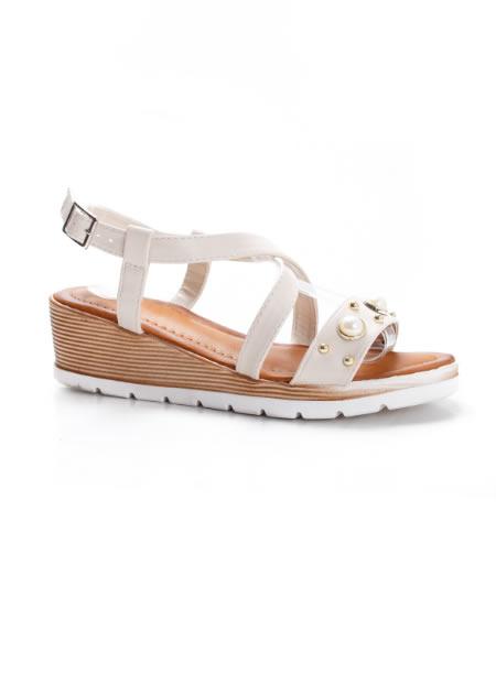 Sandale Casual Cu Platforma Albe