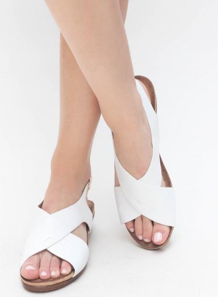 Sandale Casual Cu Platforma Joasa Albe